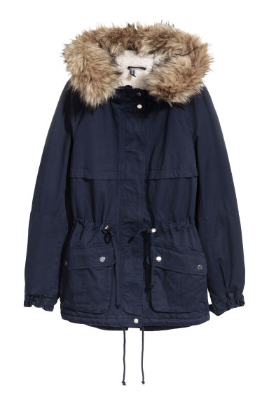 Pile-lined parka - Dark blue -  | H&M