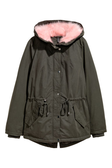 Padded parka - Dark green/Pink - Ladies | H&M
