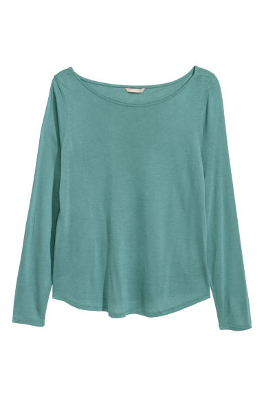 H&M+ Long-sleeved jersey top - Dusky green - Ladies | H&M
