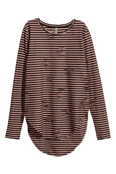 Trashed top - Rust/Black striped - Ladies | H&M