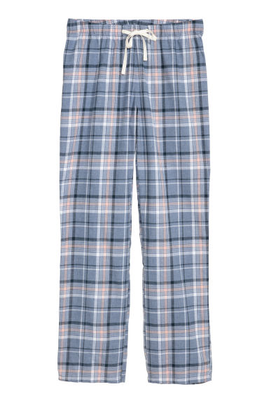 Flannel pyjama bottoms - Blue/Pink checked - Ladies | H&M