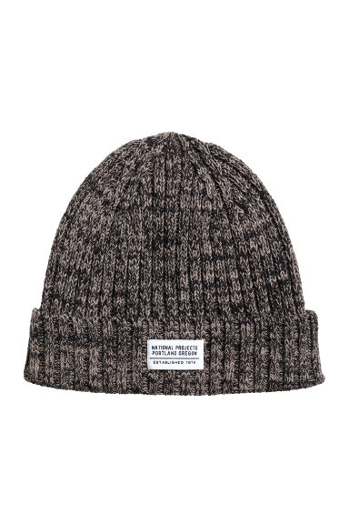 Rib-knit hat - Dark grey marl - Men | H&M