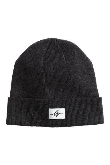 Ribbed cotton hat - Black marl -  | H&M