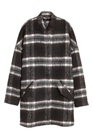 Coat in bouclé yarn - Black/White checked - Ladies | H&M