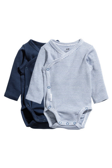 2-pack long-sleeved bodysuits - Dark blue - Kids | H&M