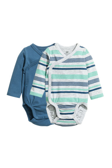 2-pack long-sleeved bodysuits - Grey/Blue striped -  | H&M CN