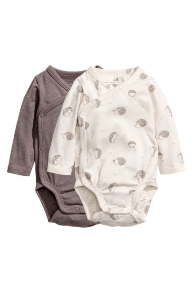 2-pack long-sleeved bodysuits - Natural white/Hedgehogs -  | H&M CN