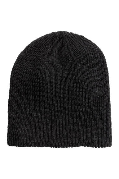 Rib-knit hat - Black -  | H&M CN