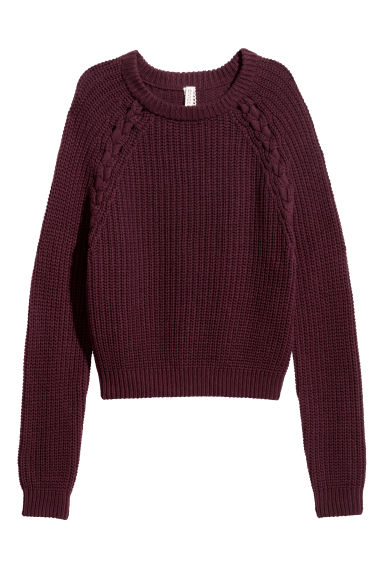 Knitted jumper - Burgundy -  | H&M