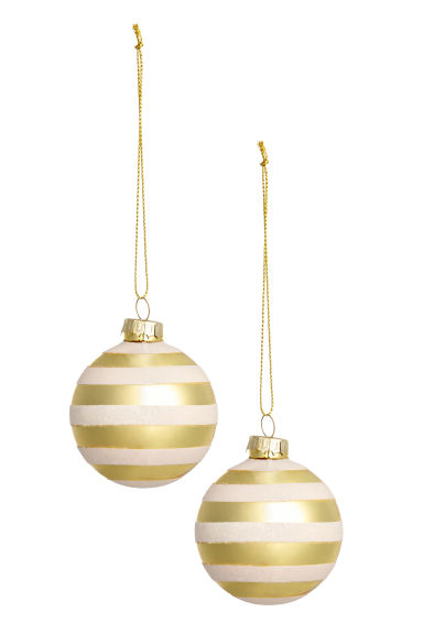 2-pack Christmas tree baubles - White/Gold - Home All | H&M CN
