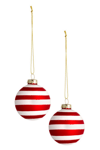2-pack Christmas tree baubles - White/Red -  | H&M CN