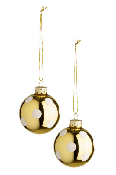 2-pack Christmas tree baubles - Gold-coloured/White - Home All | H&M CN