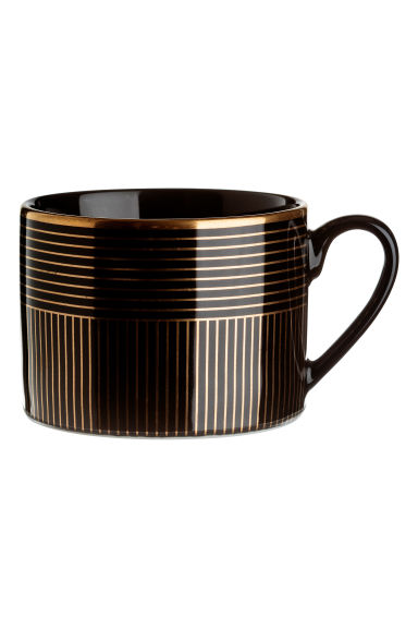 Patterned mug - Black/Gold-coloured stripe - Home All | H&M IE