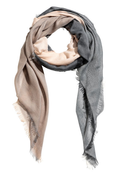Block-patterned scarf - Beige/Grey -  | H&M CN