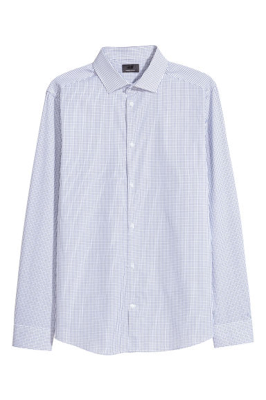 Premium cotton shirt - White/Blue checked -  | H&M