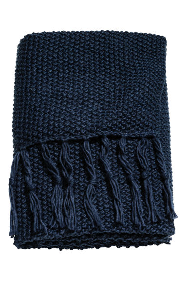 Moss-knit blanket - Dark blue - Home All | H&M CN