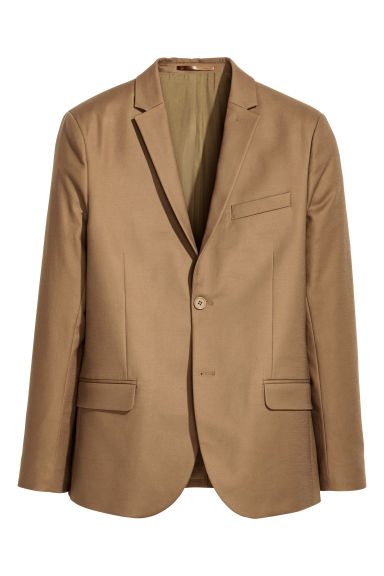 Blazer in cotone Slim fit - Beige scuro -  | H&M CH