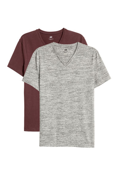 Set van 2 T-shirts - Slim fit - Donkerbruin - HEREN | H&M BE
