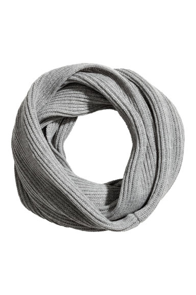 Rib-knit tube scarf - Grey marl - Men | H&M CN