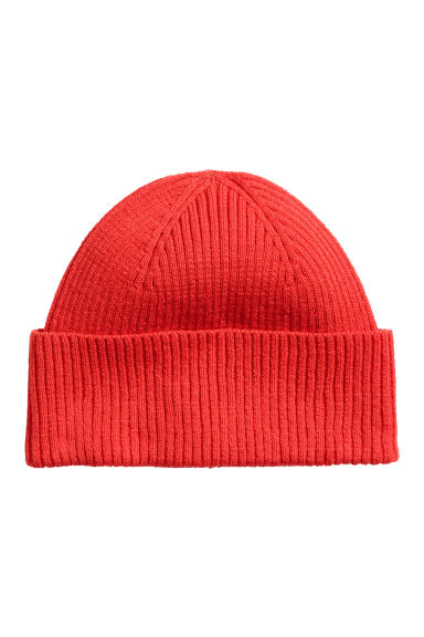 Ribbed hat - Red -  | H&M