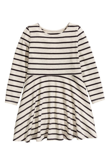 Jersey dress - Light grey/Striped -  | H&M CN
