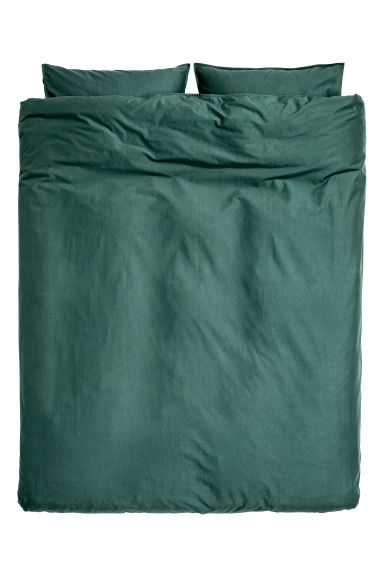 Washed cotton duvet cover set - Dark green - Home All | H&M CN