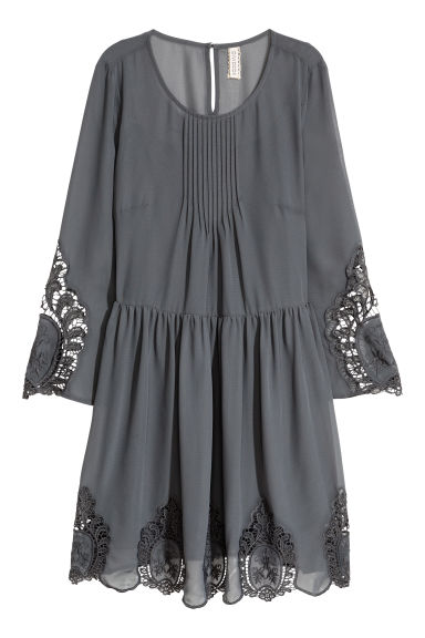 Hole-embroidered dress - Dark grey - Ladies | H&M CN