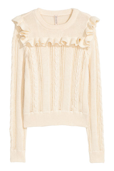 Knitted jumper with a frill - White - Ladies | H&M GB