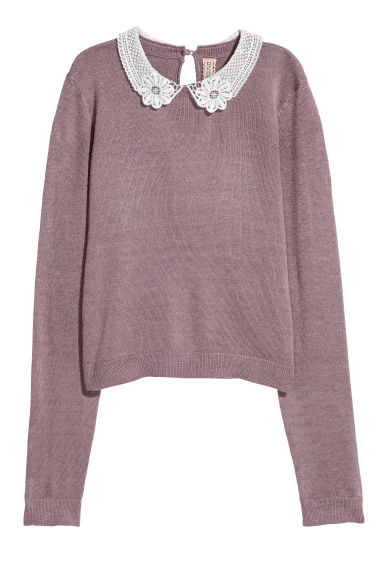 Lace-collared jumper - Heather purple -  | H&M