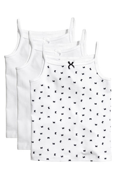 3-pack jersey vest tops - White/Butterflies - Kids | H&M