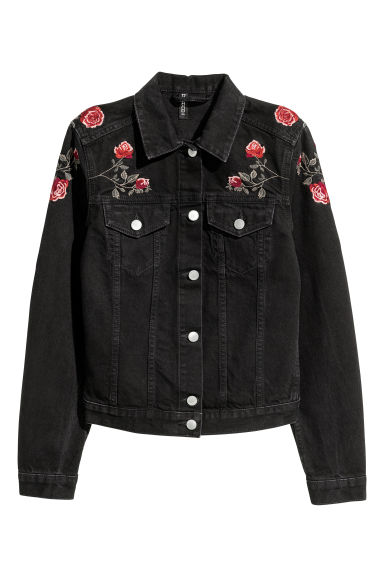 Denim jacket - Black/Roses - Ladies | H&M