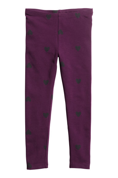 Tricot legging - Dark purple/Hearts -  | H&M NL