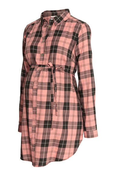 MAMA Cotton tunic - Pink/Black checked -  | H&M