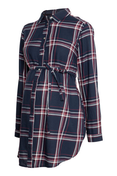 MAMA Cotton tunic - Dark blue/Red checked -  | H&M