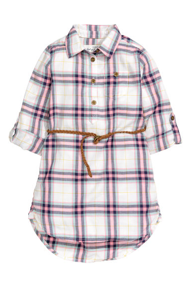 Shirt dress - White/Pink checked - Kids | H&M CN