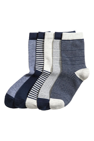 5-pack socks - Dark blue/Striped - Kids | H&M