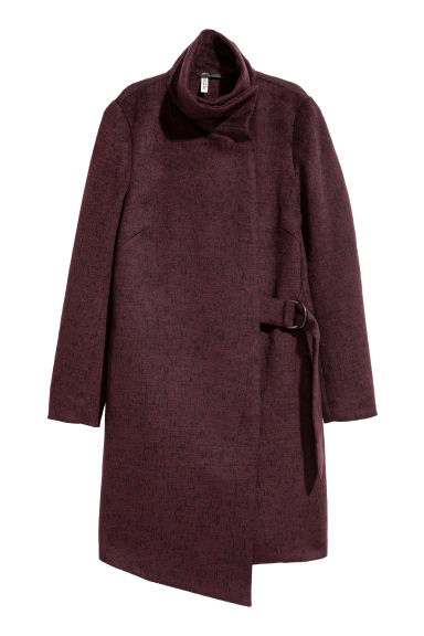 Wrapover coat - Plum/Marled - Ladies | H&M