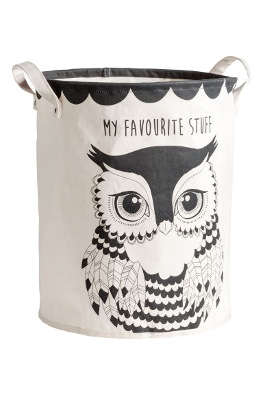 Patterned storage basket - Dark grey/Owl - Home All | H&M IE