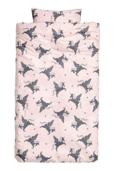 Patterned duvet cover set - Light pink/Unicorn -  | H&M CN