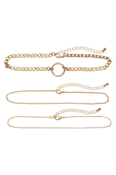 3-pack chokers - Gold-coloured - Ladies | H&M CN
