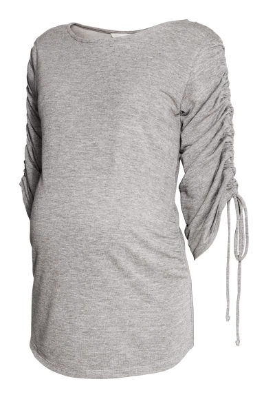 MAMA Top with gathered sleeves - Light grey marl - Ladies | H&M IE
