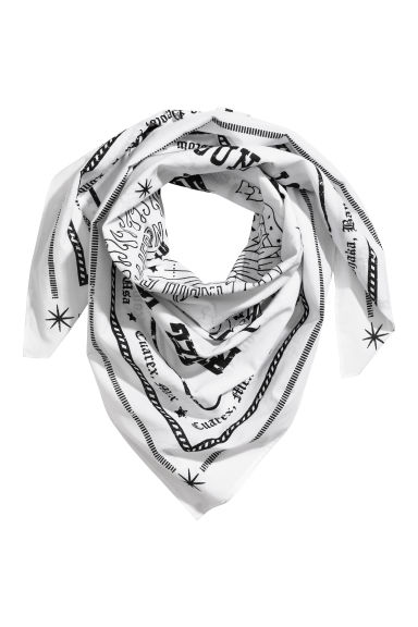 Cotton scarf - White/Patterned -  | H&M IE