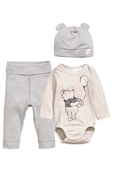 3-piece jersey set - Grey - Kids | H&M