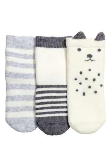 3-pack socks - Light grey/Striped - Kids | H&M CN