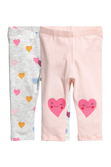 Lot de 2 leggings - Rose/cœurs - ENFANT | H&M BE