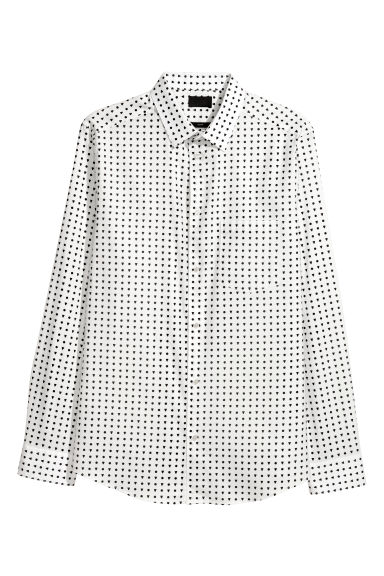 Cotton shirt Slim fit - White/Black spotted -  | H&M IE