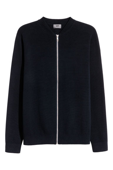Long-staple cotton cardigan - Dark blue - Men | H&M CN