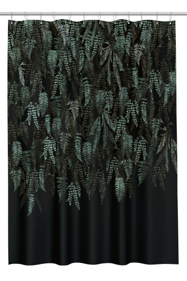 Patterned shower curtain - Black/Leaf - Home All | H&M CN