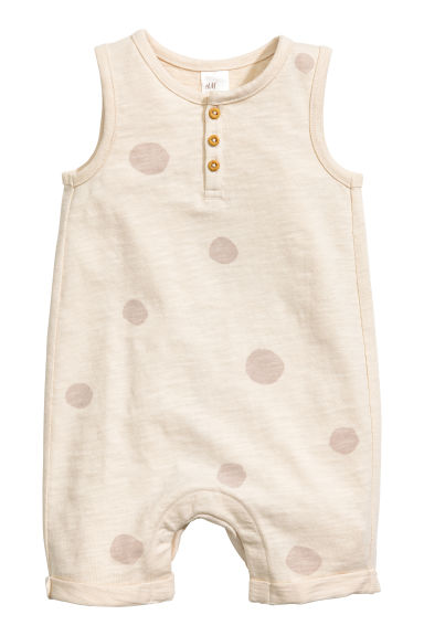 Sleeveless jersey romper suit - Light beige/Spotted -  | H&M CN