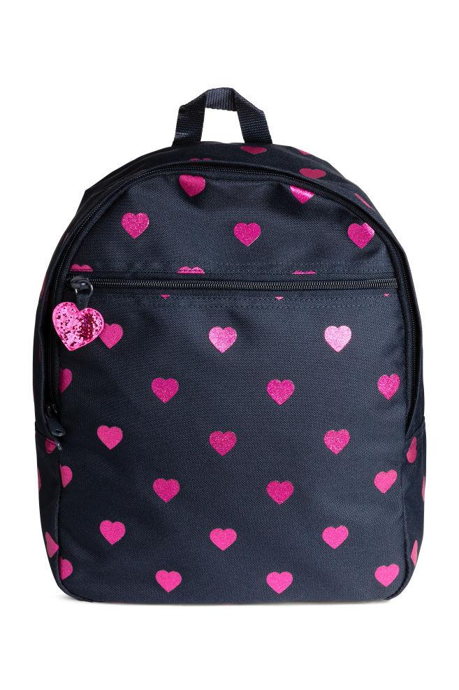27fff09b254 Rugzak met dessin - Donkerblauw/hartjes - KINDEREN | H&M ...